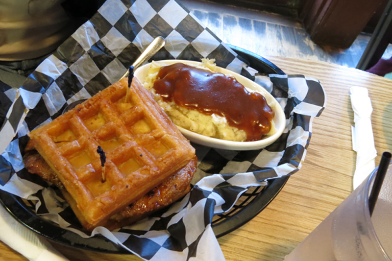 The insanely good maple glazed chicken waffle sandwich.
