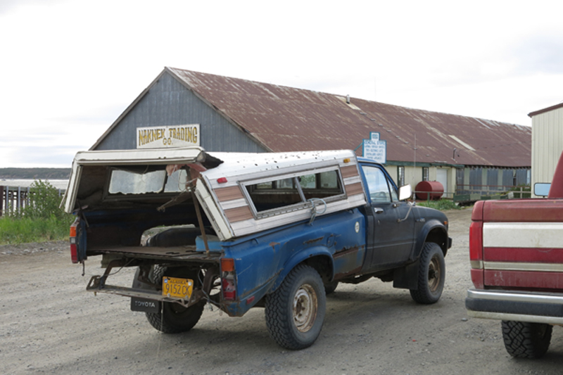 Here is a typical vehicle found on the road in Naknek, Alaska.  As you can see, the bed is, well, not structurally sound anymore.