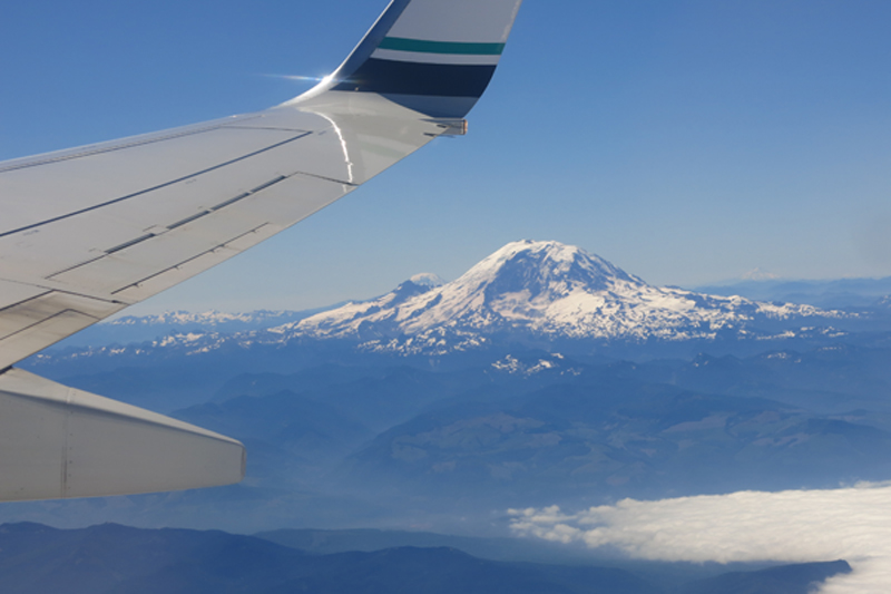 A view of Mount Rainier from just outside Seattle's Sea Tac airport.
