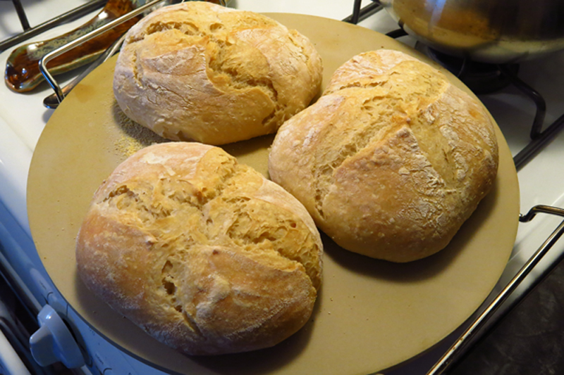 Fresh bread rolls.