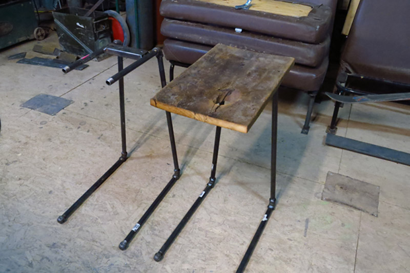 Steel pipe used to make industrial inspired coffee tables to be used at the outdoor seating in front of the shop.