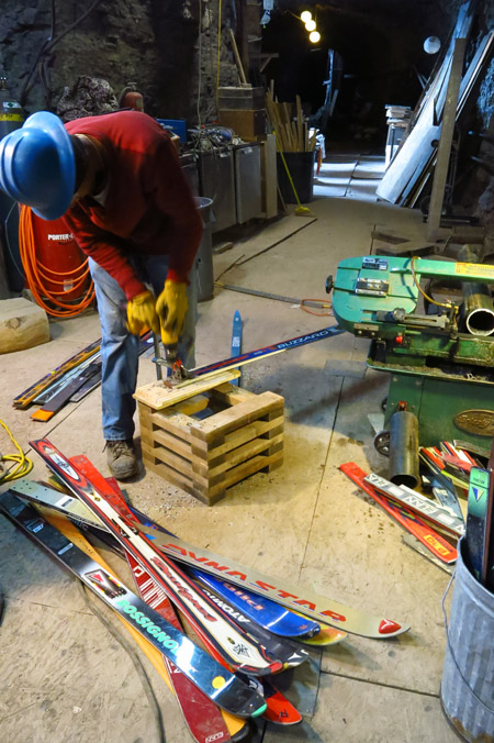 Cutting and drilling over 150 skis.