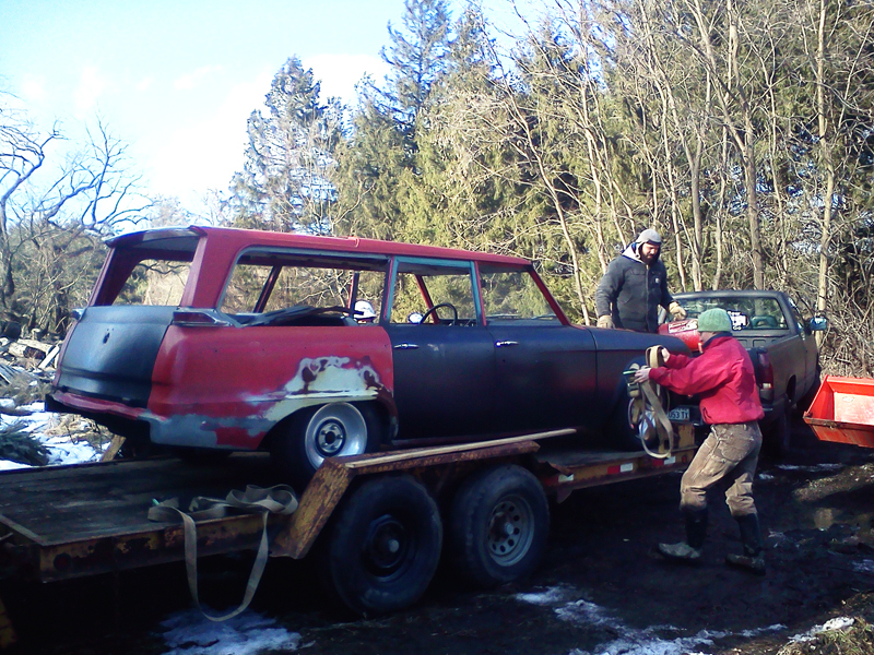 Studebaker finally on the trailer and ready to move.