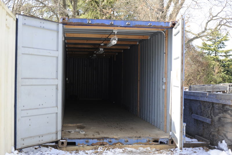 An empty container ready for pickup and delivery to its new home.