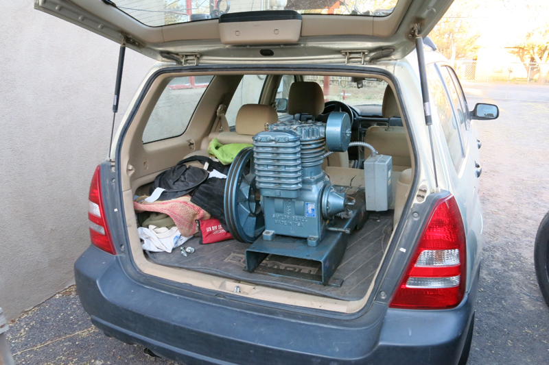 Our new Saylor-Beall 705 compressor loaded into Peters Subaru.