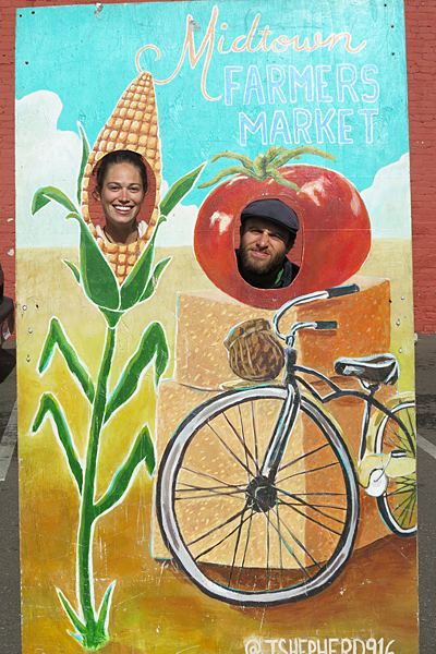 Goofing off at the midtown farmers market in Sacramento, California.