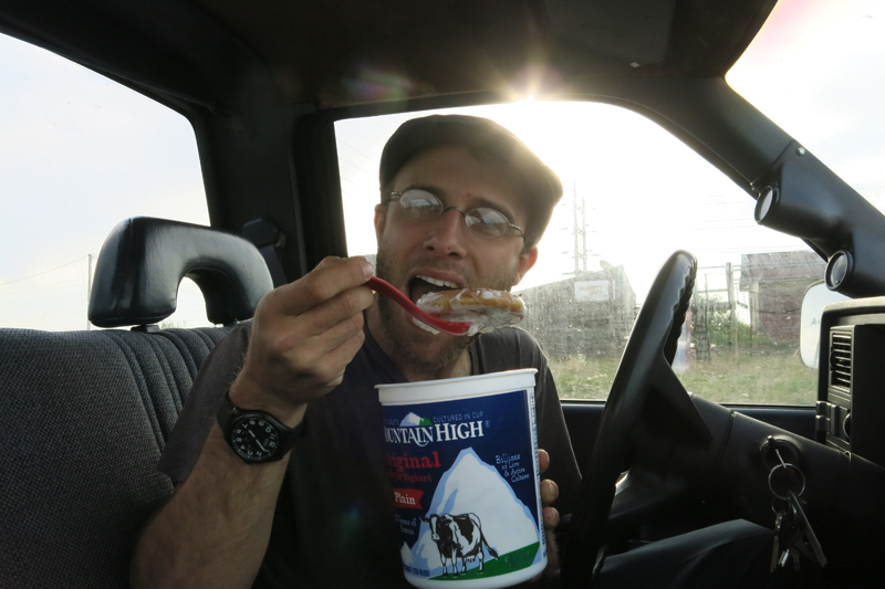 Eating yogurt we couldn't leave in Colorado with a gas station Honey Bun...I massive contradiction in diet.