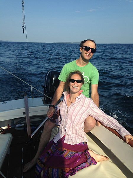 Adrienne and I Sailing out of Camden, Maine with my great friend Kate Miles.